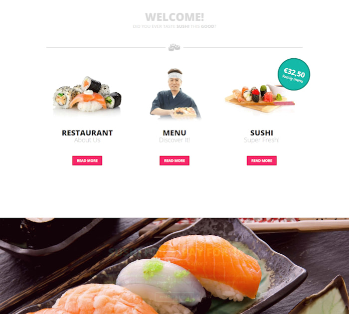 Best Webflow templates and themes: Zooshi - Restaurant website template