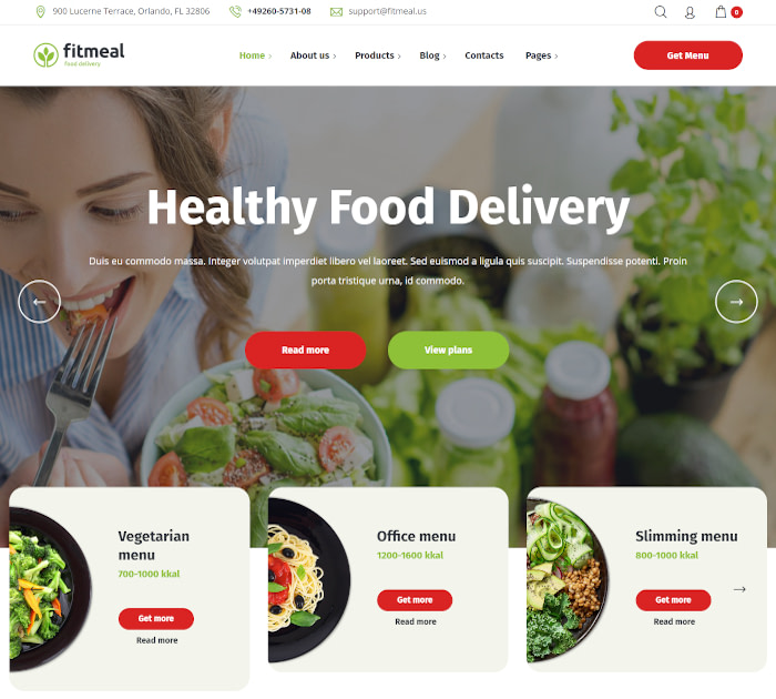 Best food delivery WordPress themes: Fitmeal
