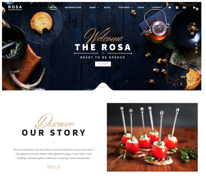 Best food delivery WordPress themes: Rosa
