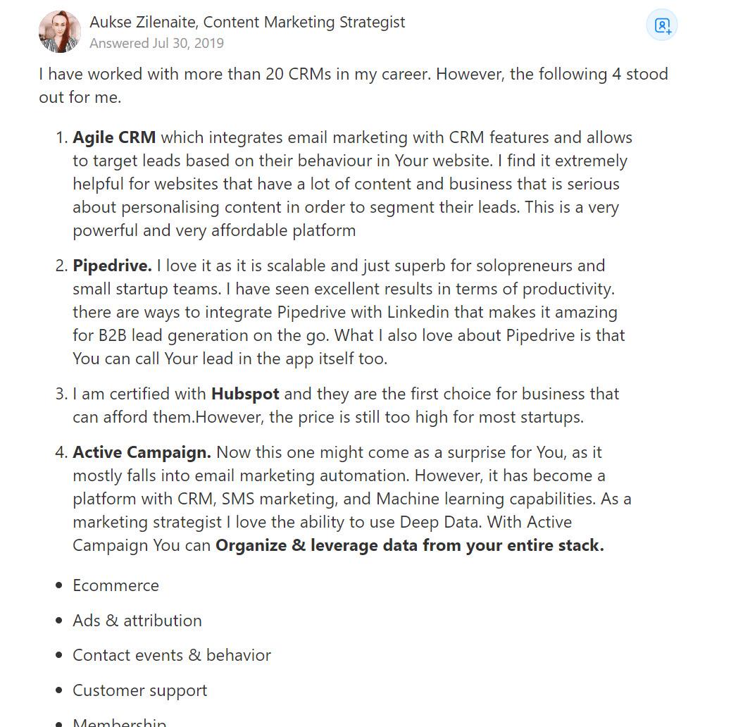 format for Quora marketing