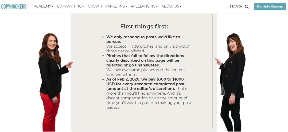 Copyhackers $300 - $1,000 per article