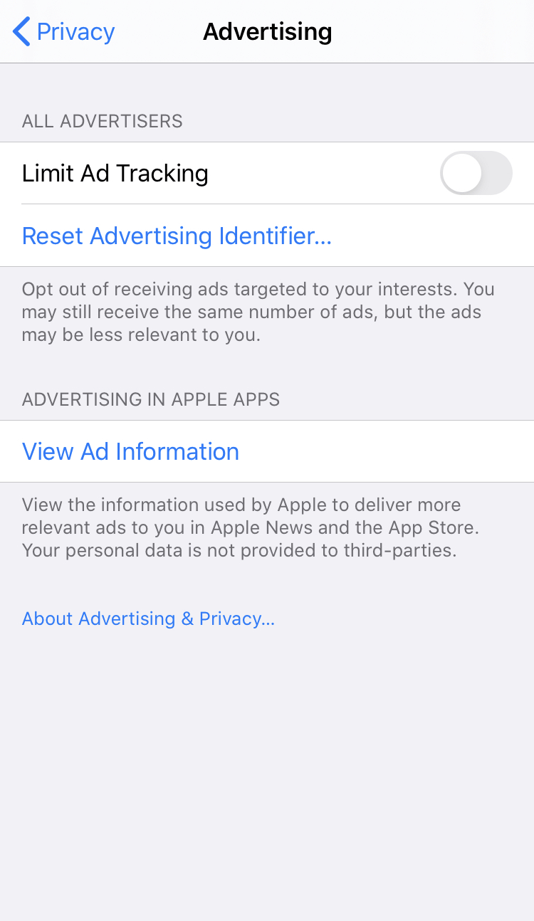 iPhone advertising settings to stop apps tracking you