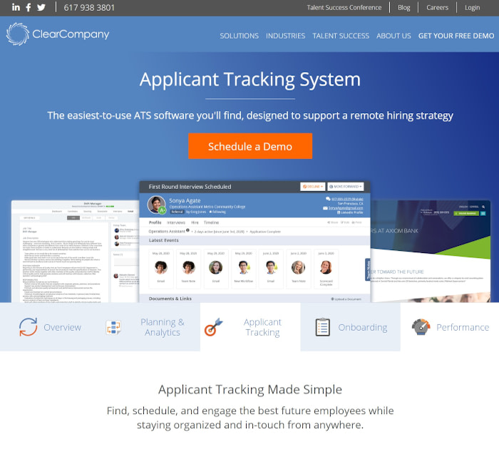 Best applicant tracking software: ClearCompany