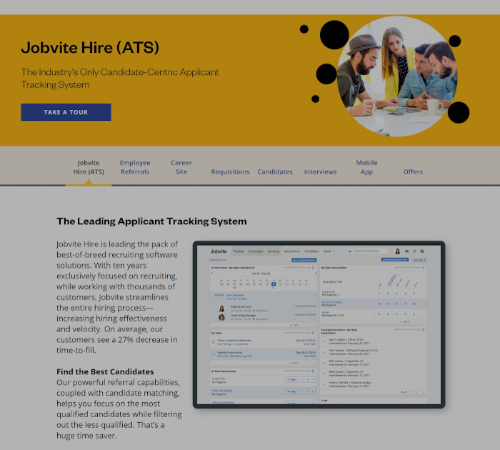 Best applicant tracking software: Jobvite
