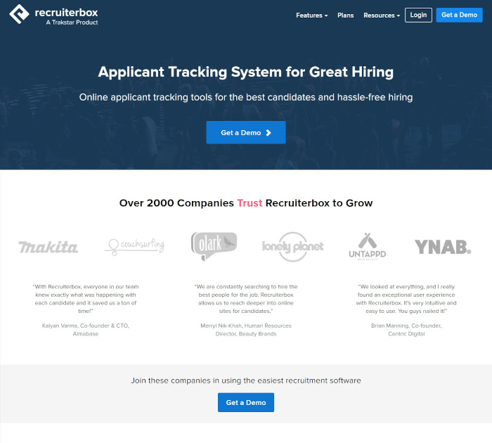 Best applicant tracking software: Recruiterbox