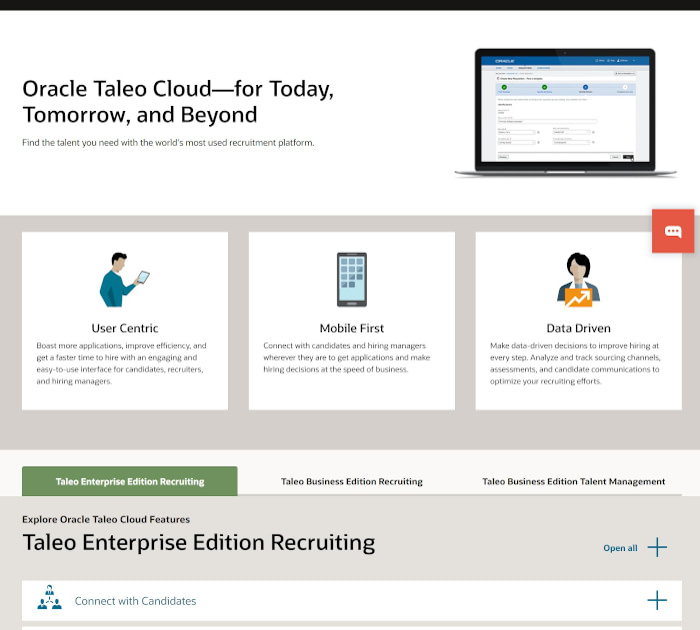 Best applicant tracking software: Oracle Taleo Cloud