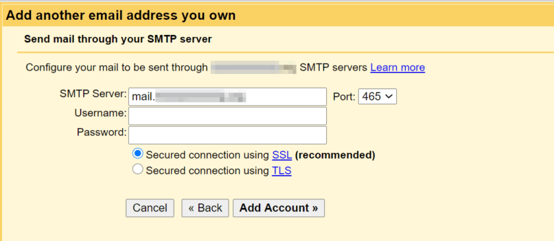 Adding SMTP on Gmail