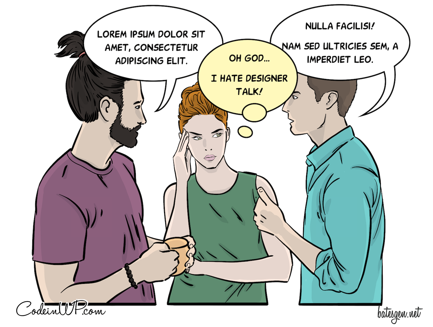 Comic with two designers using the language of their profession