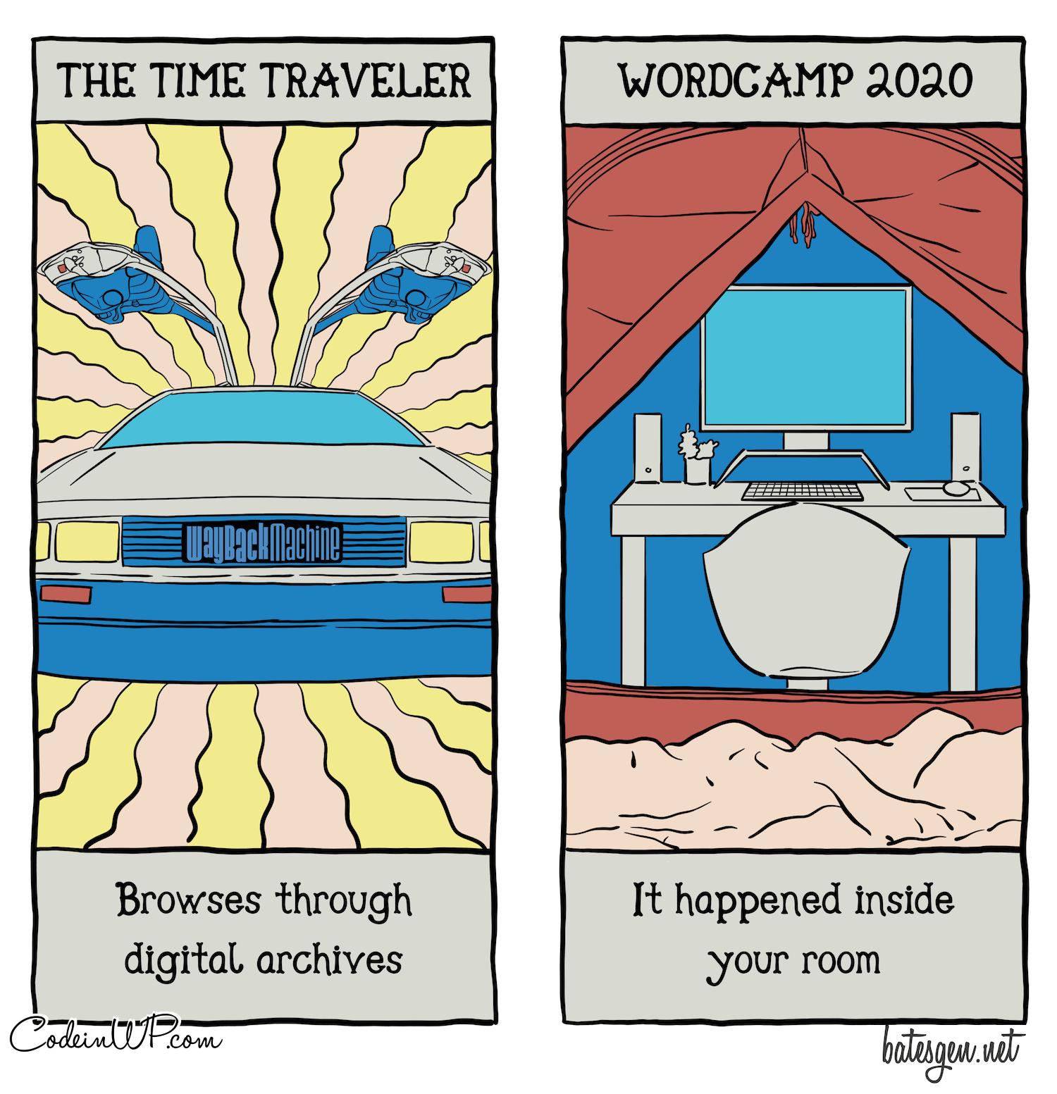 Tech comics version of the tarot: Wayback Machine and WordCamp 2020