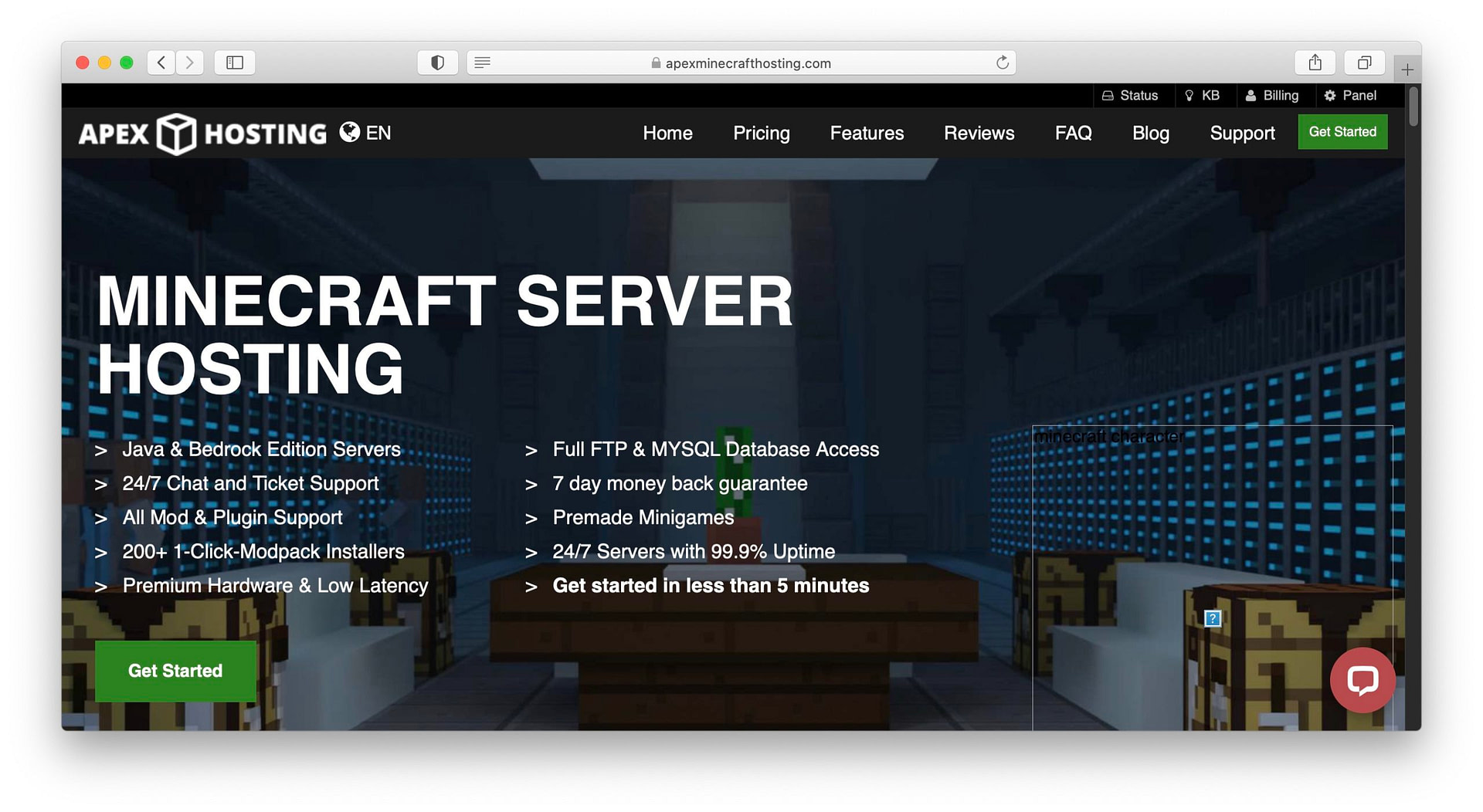 Apex Hosting Minecraft options.