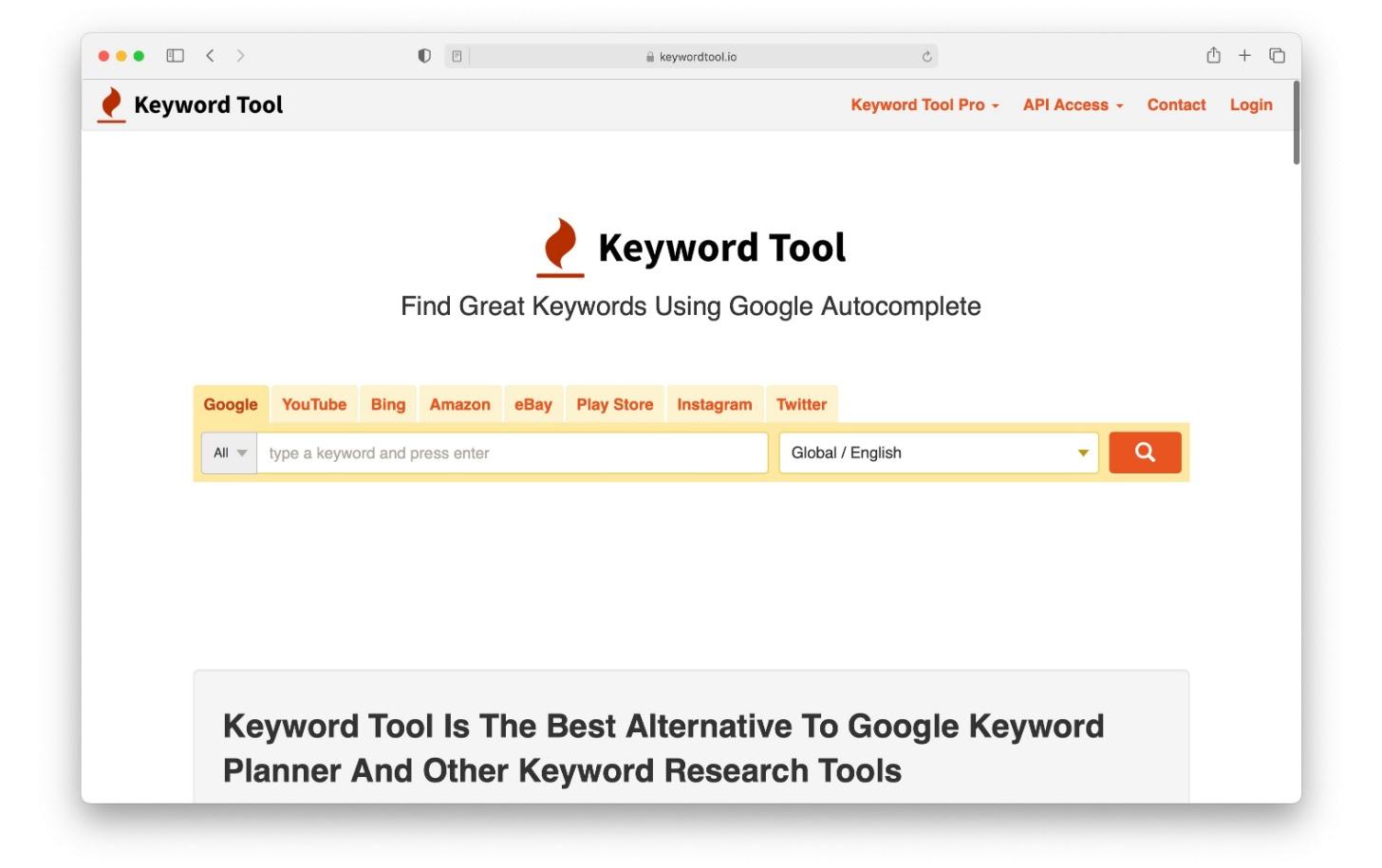 Keyword Tool is an SEO tool for keyword research