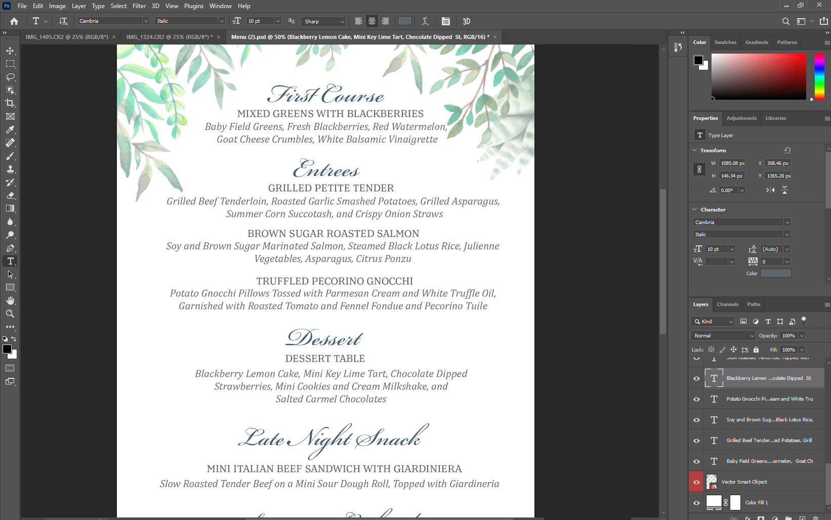 one-page photoshop design