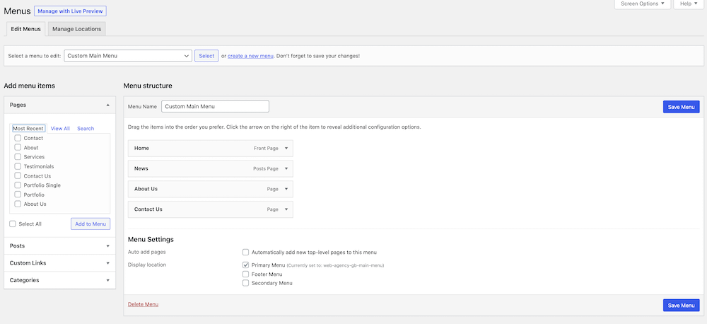 Making a website navigation meny in WordPress