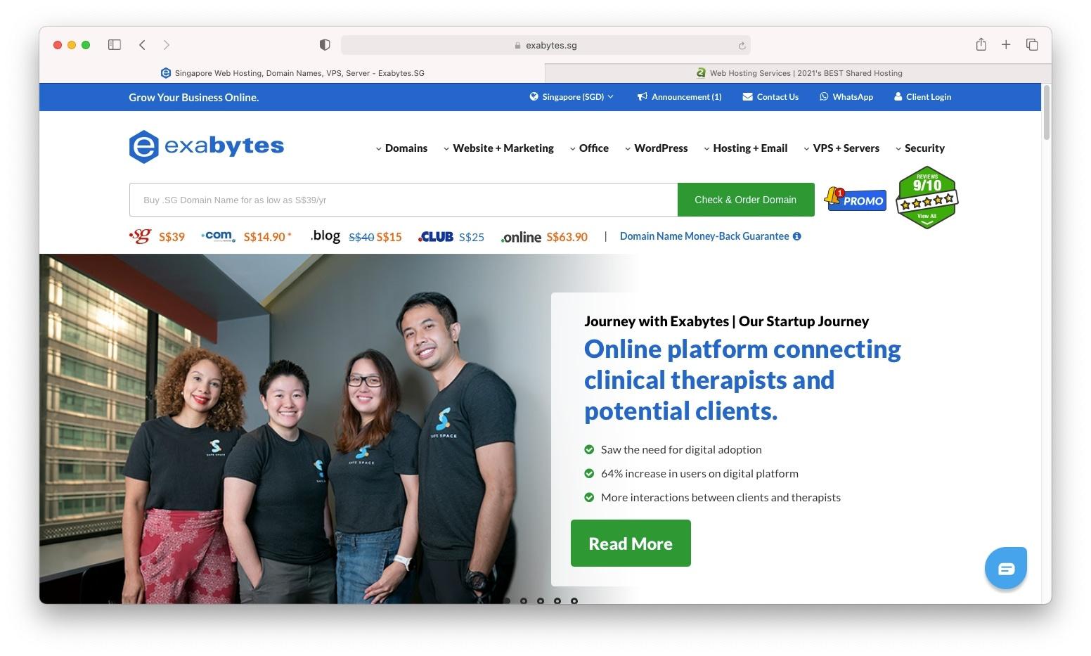 Best web hosting Singapore includes local company Exabytes