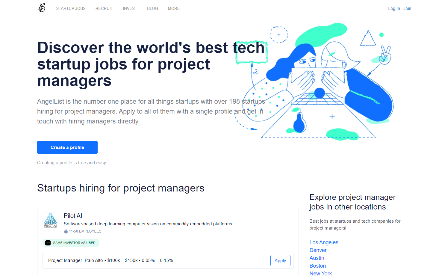 angel list - freelance project manager