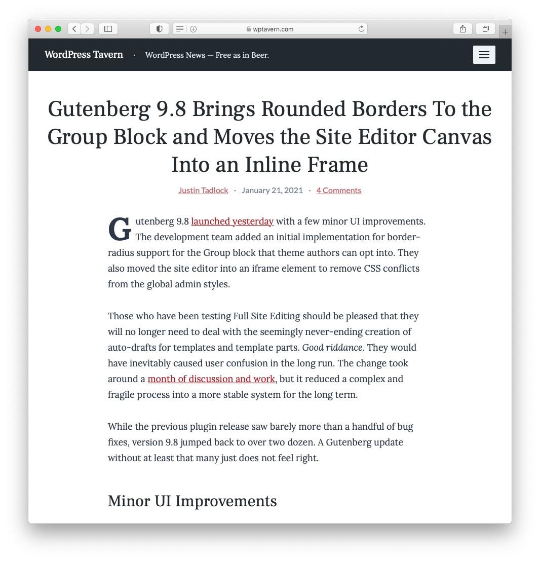 February 2021 WordPress News: Gutenberg 9.8