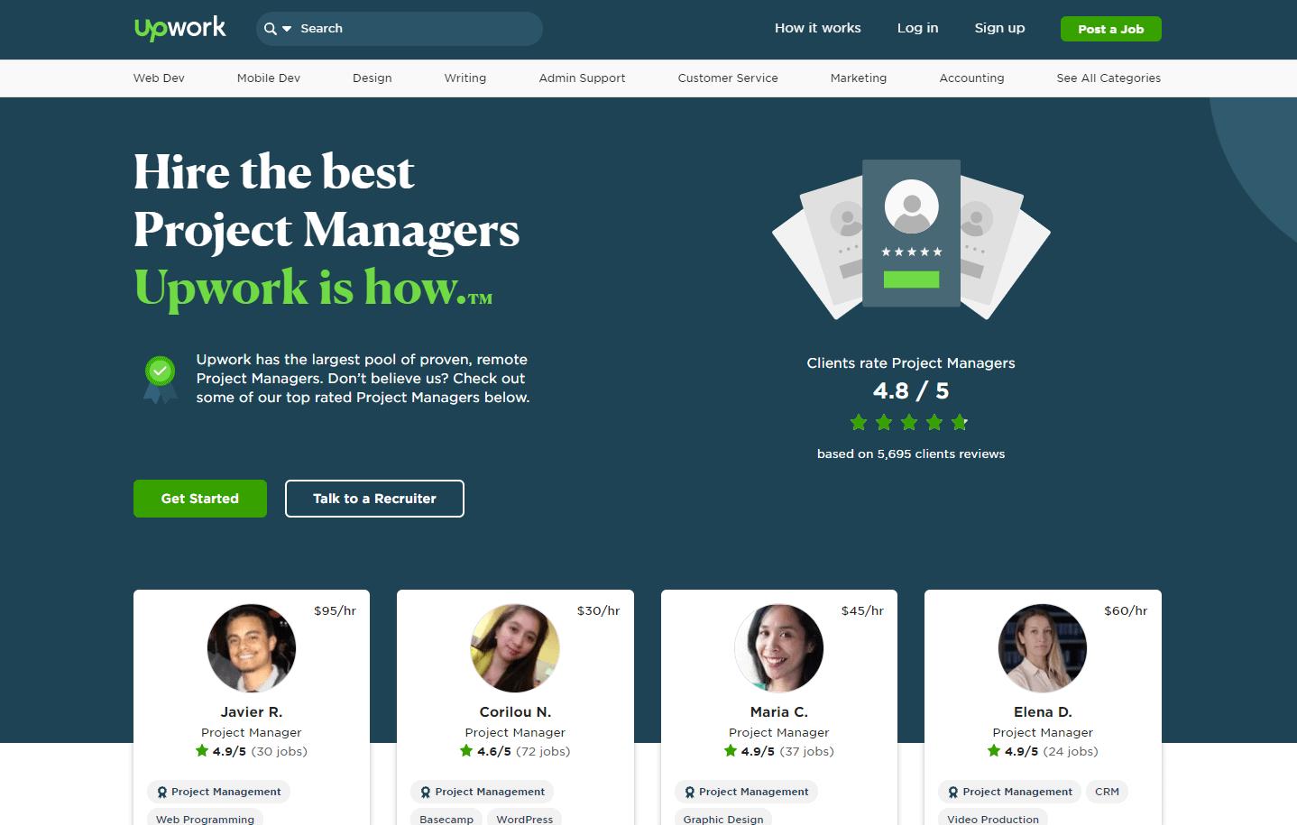 upwork - freelance project manager