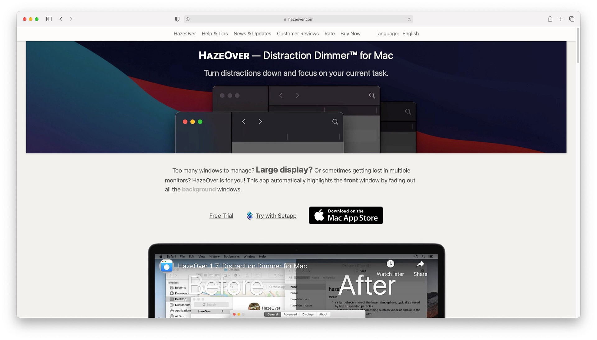 Best productivity apps for mac: HazeOver
