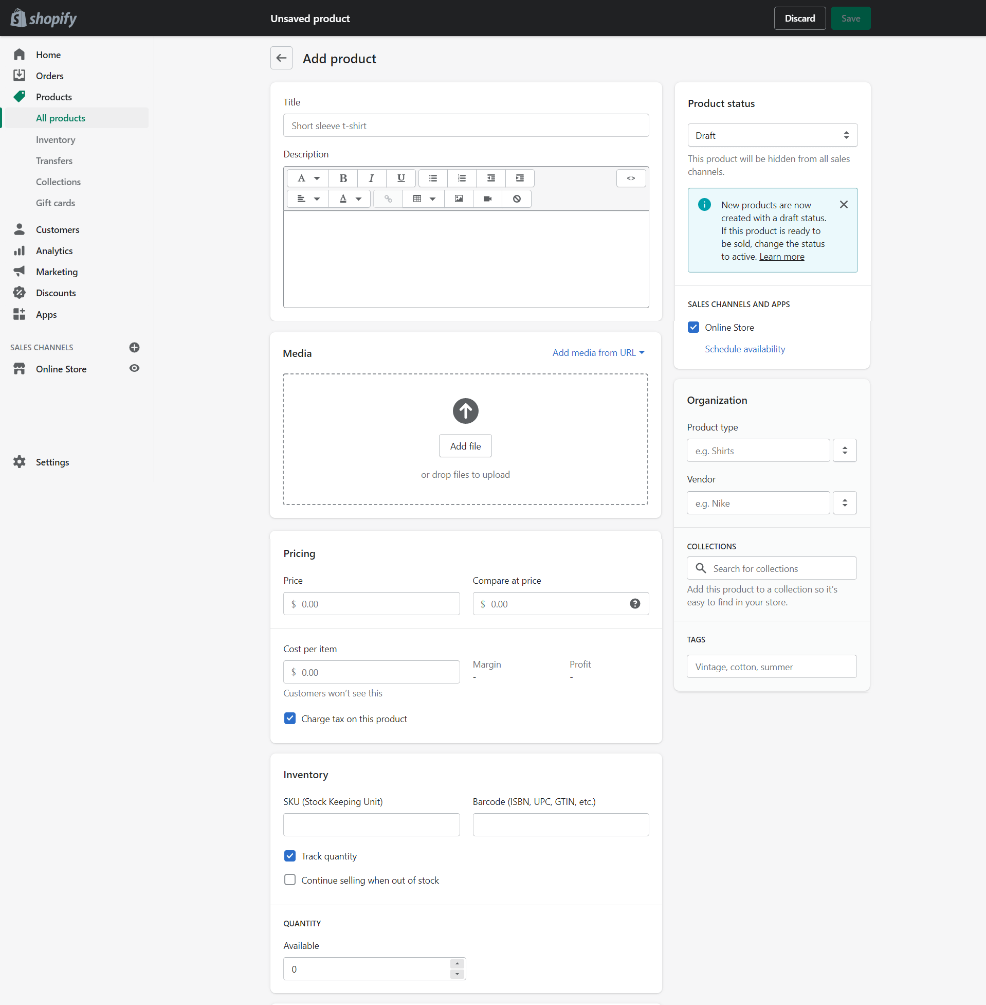 The screen to add a product on Shopify.