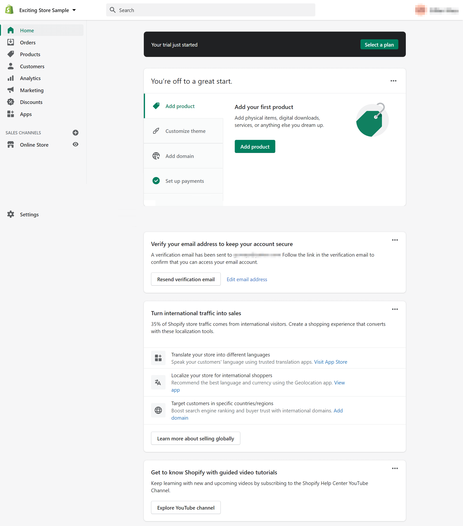 A sample of a Shopify dashboard.