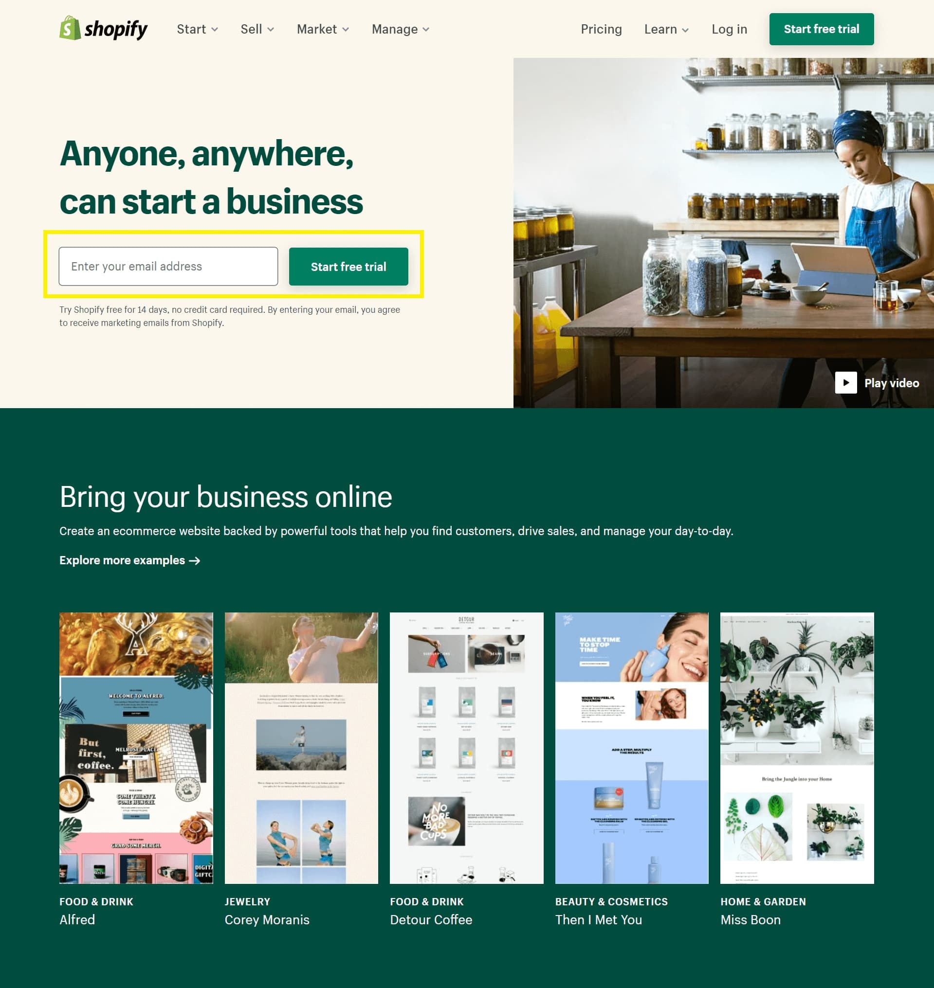 The Shopify homepage, offering a free trial.