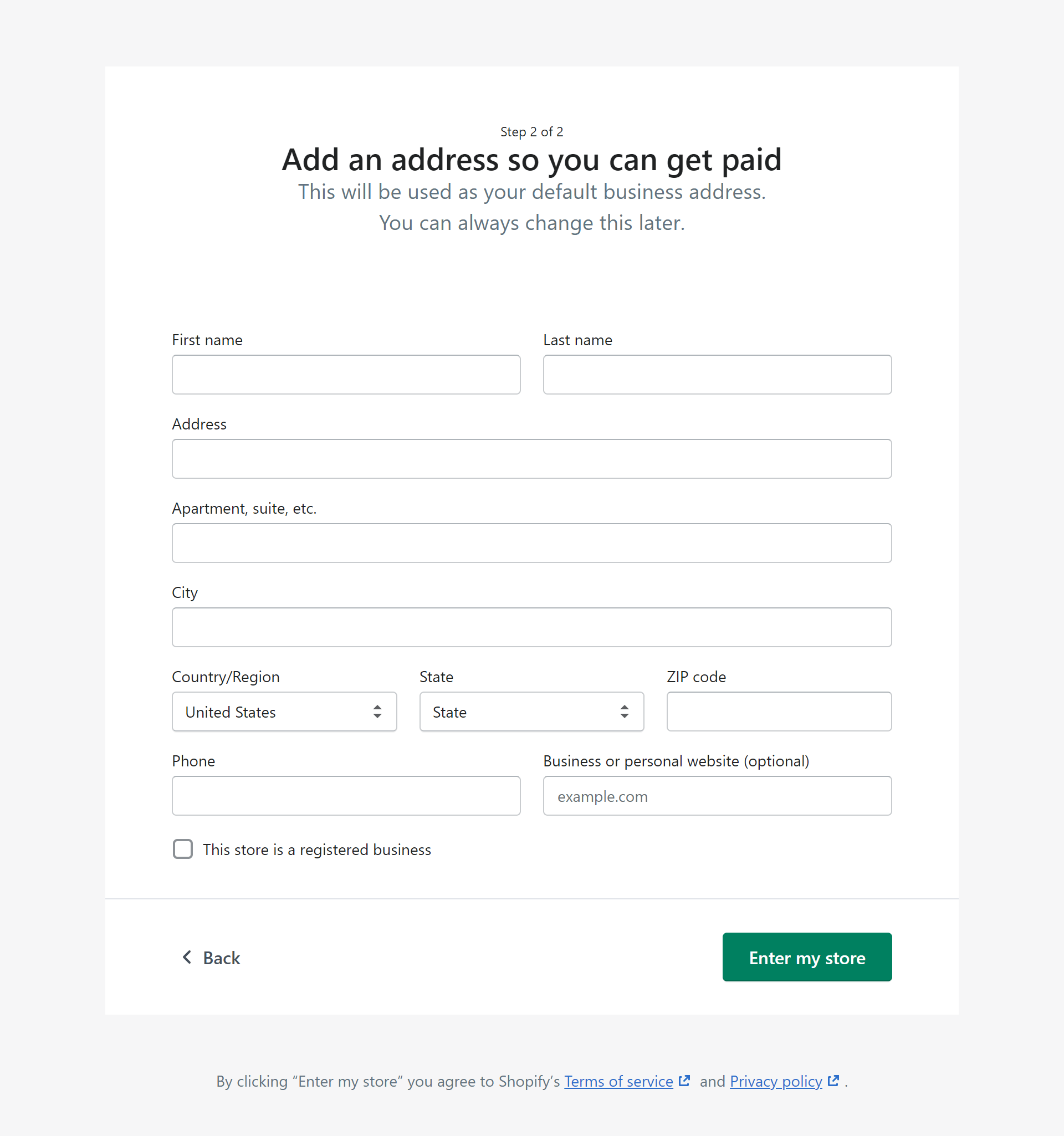 The second step for Shopify's setup.