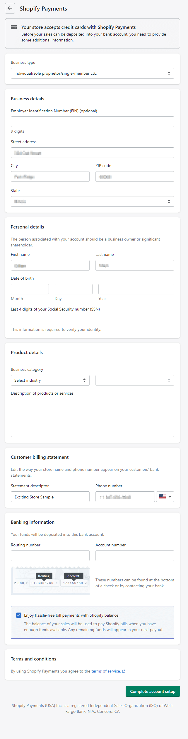 An image of Shopify's payment setup screen.