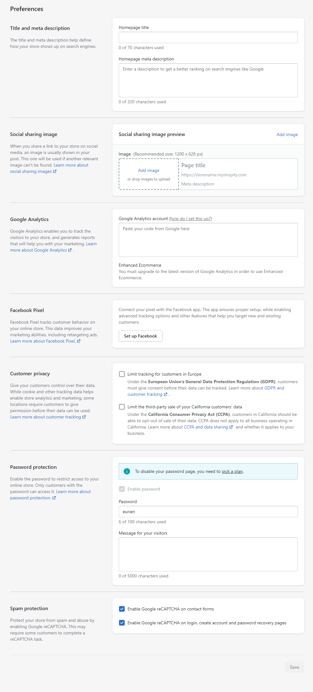The Shopify preferences page, showing users where they can disable their password and complete the Shopify tutorial.