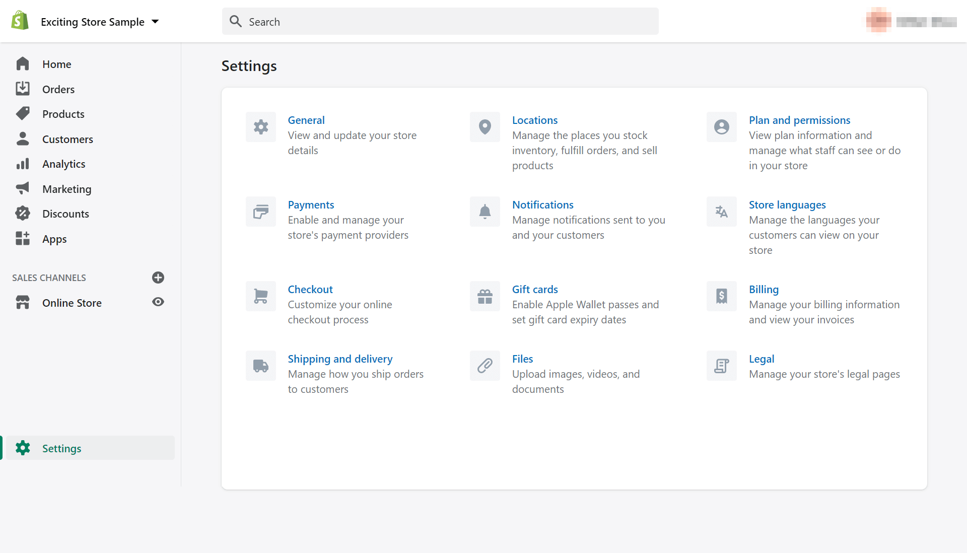 The settings page for the Shopify tutorial.