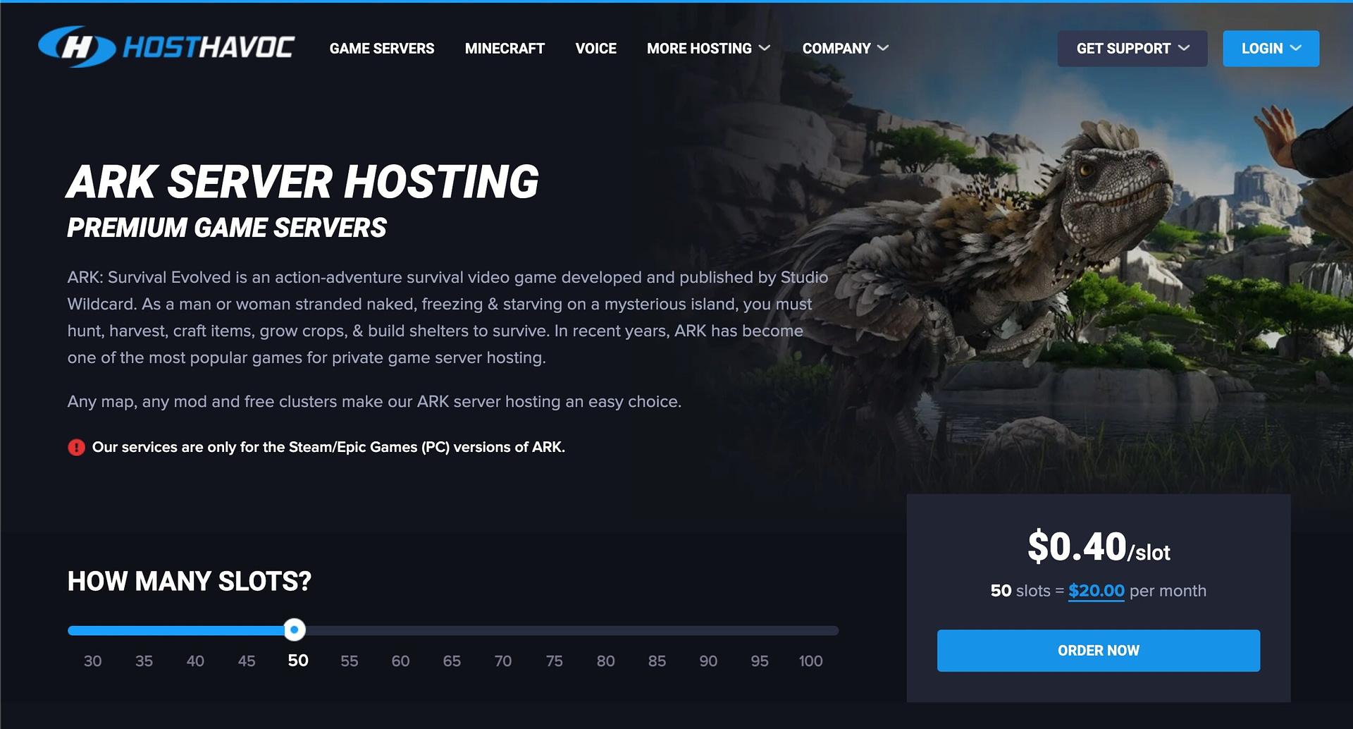 HostHavoc - best ARK server hosting