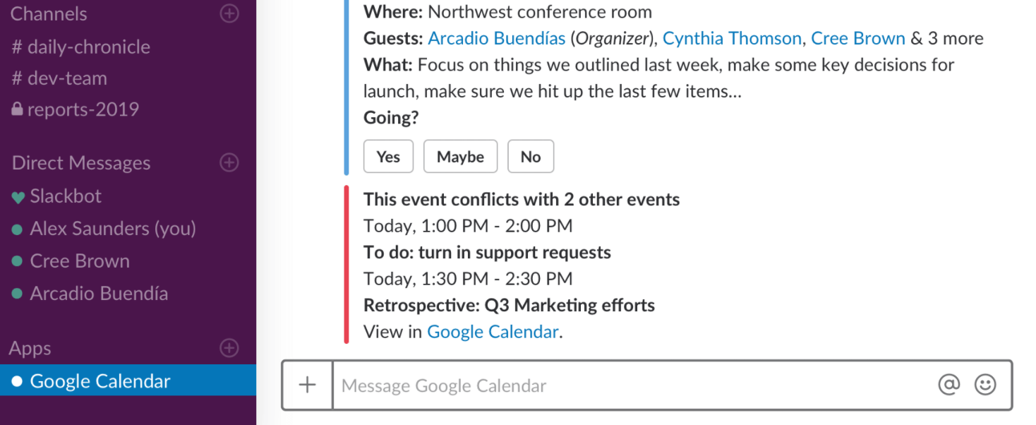 Slack vs Teams: Using Google Calendar with Slack