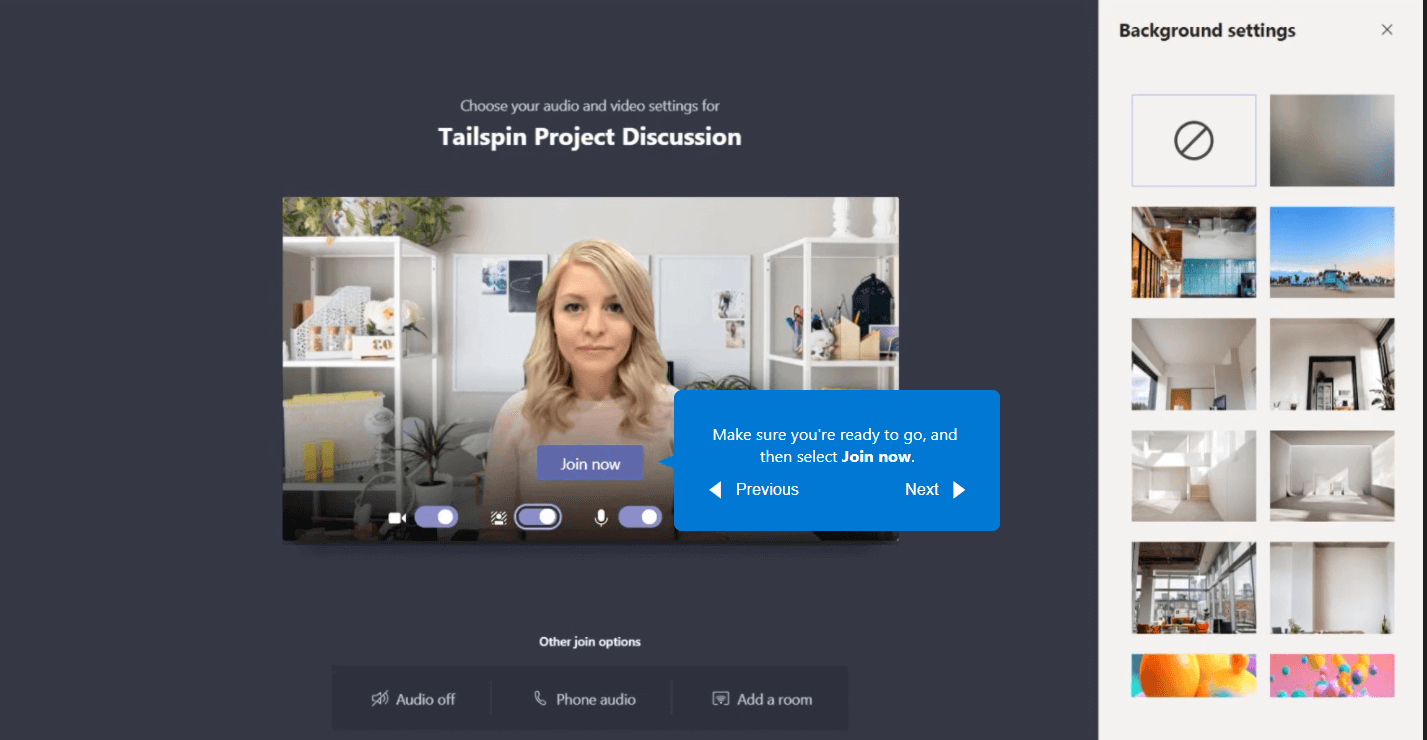 An example of a video call in Teams