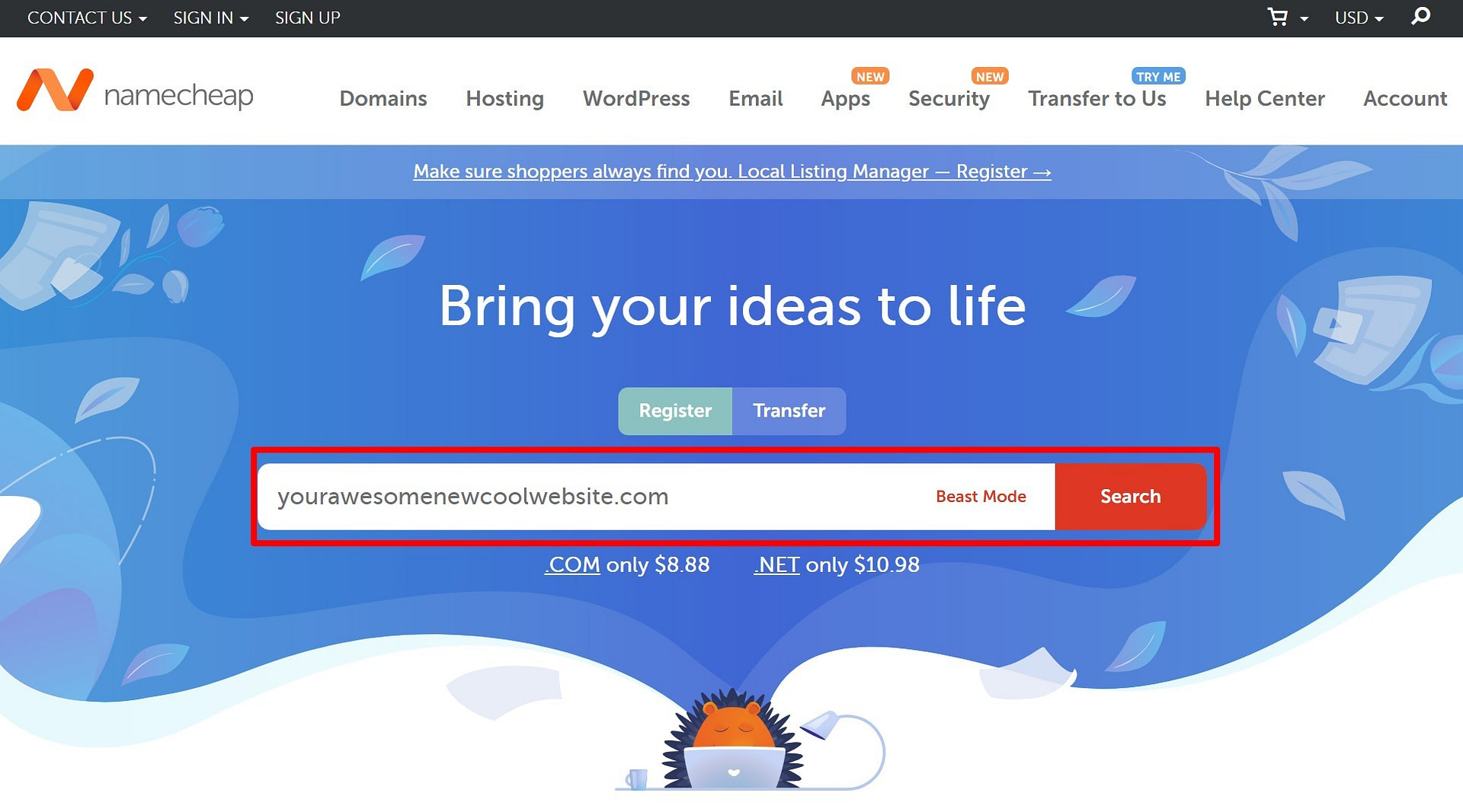 How to buy a domain using the Namecheap domain search