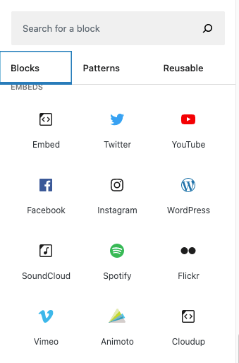 The WordPress embed blocks