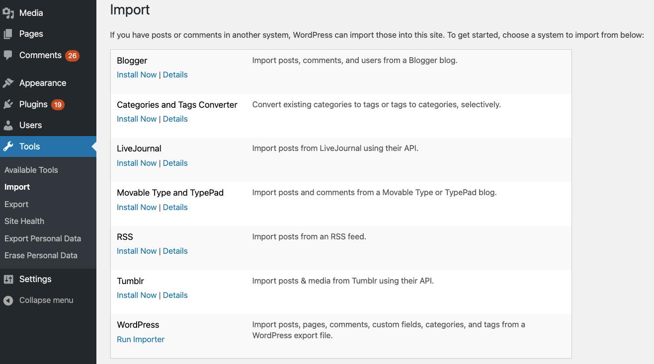 WordPress import and export tools