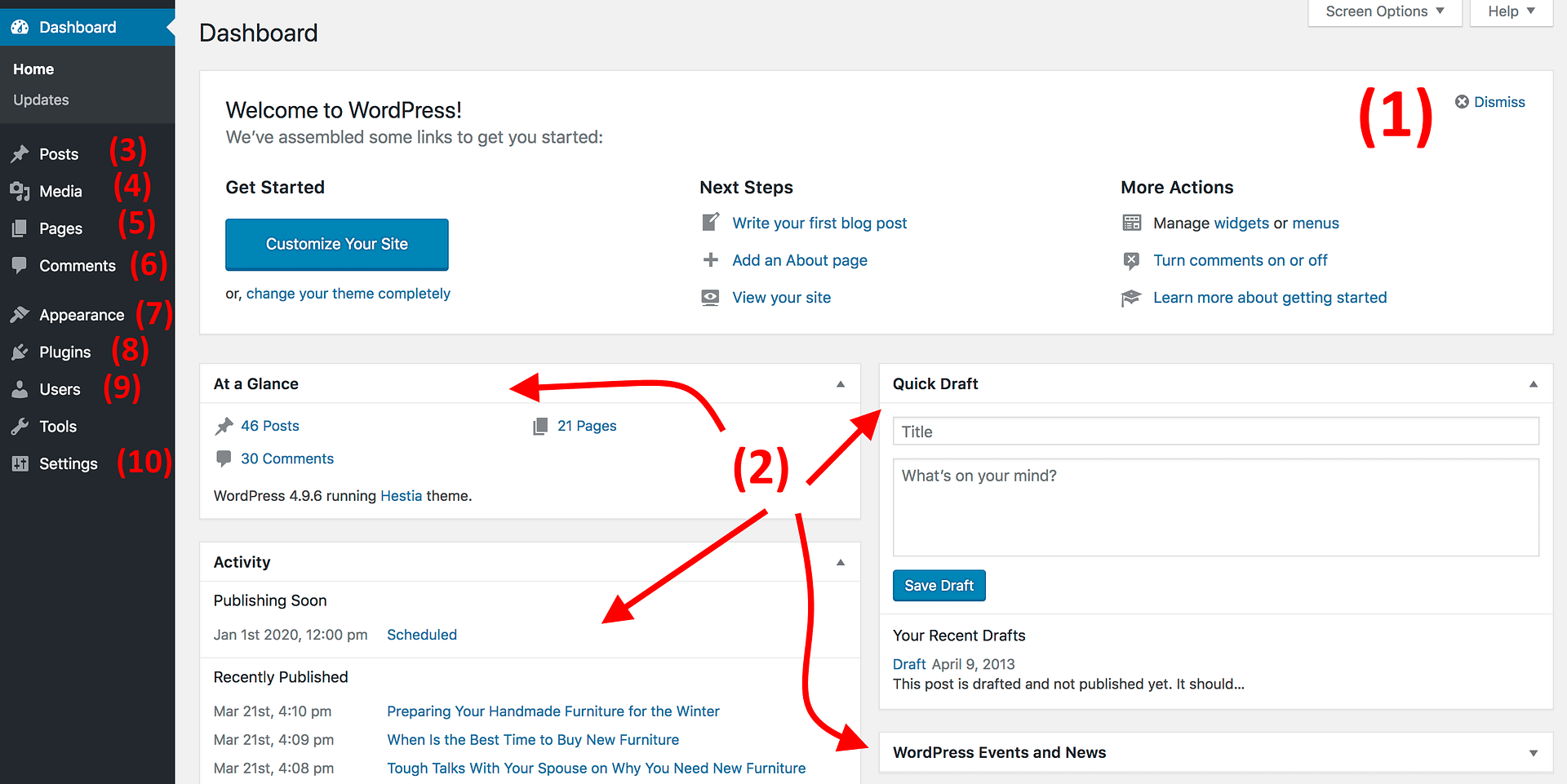 How to make a WordPress website: the WordPress dashboard