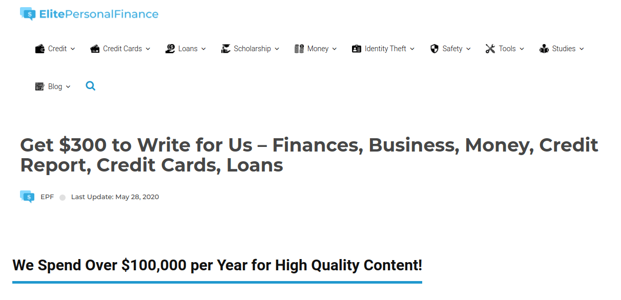 get paid to write for Elite Personal Finance