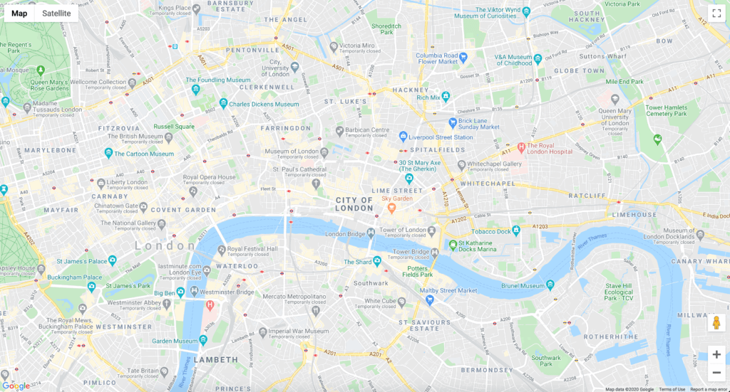 A basic Google Maps instance with default settings.