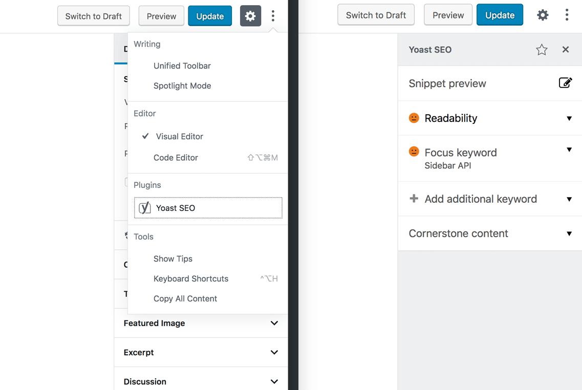 Gutenberg Sidebar API