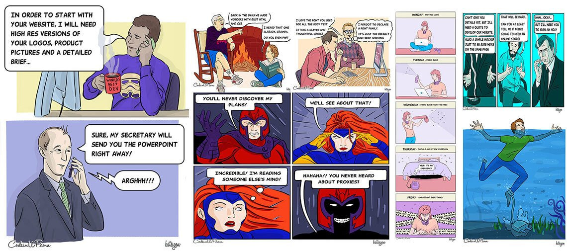Funny dose CodeinWP comics strip
