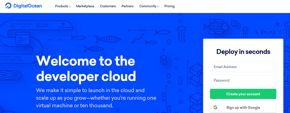 A screenshot of DigitalOcean's homepage.