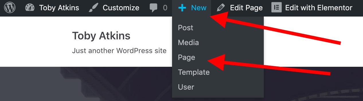WordPress new page