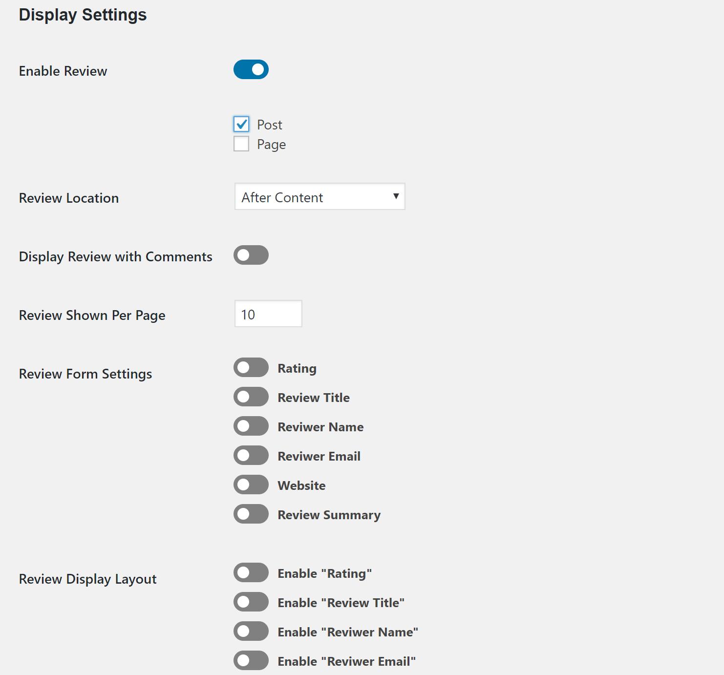 WP Ultimate Review settings