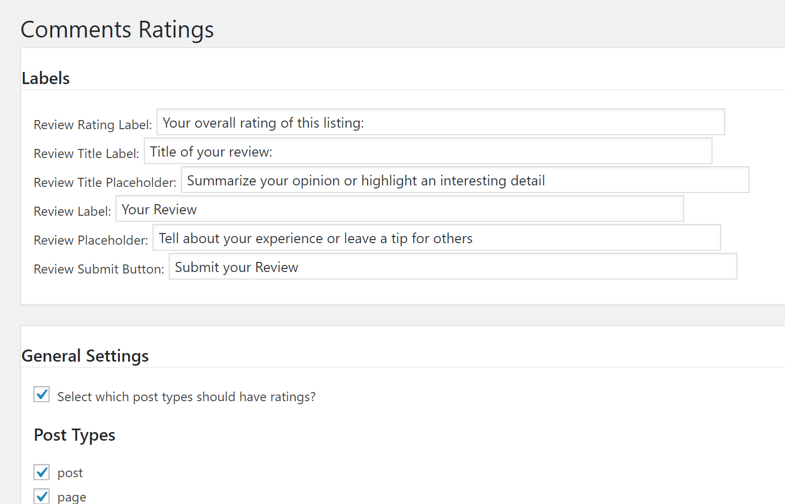 Comment Ratings settings