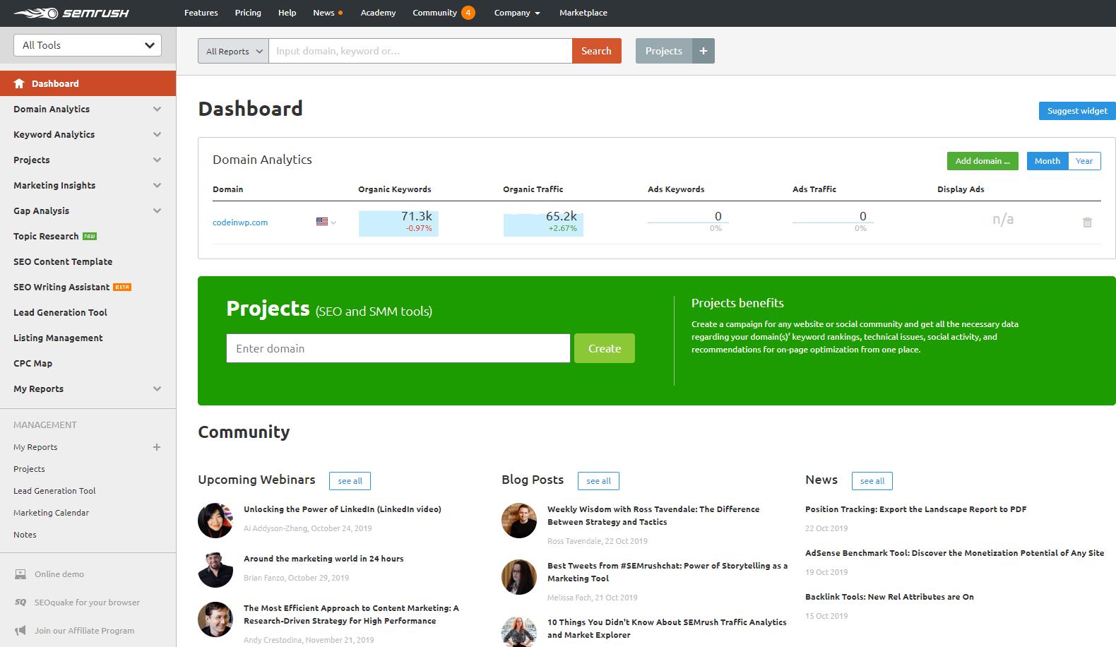 semrush dashboard