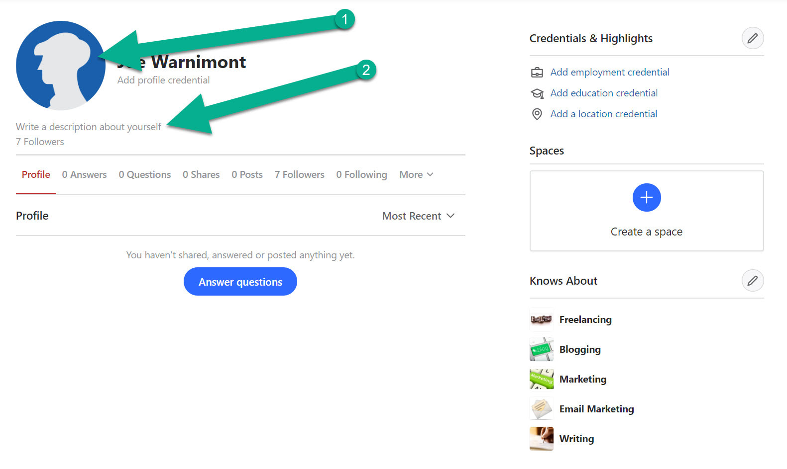 profile filling for Quora marketing