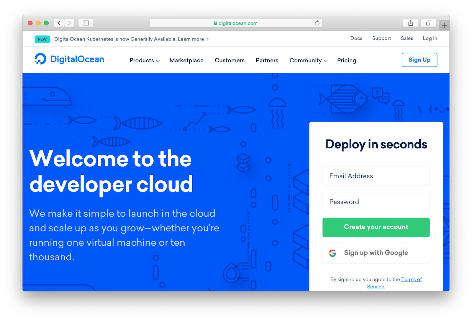 One-click Node.js setup at DigitalOcean hosting