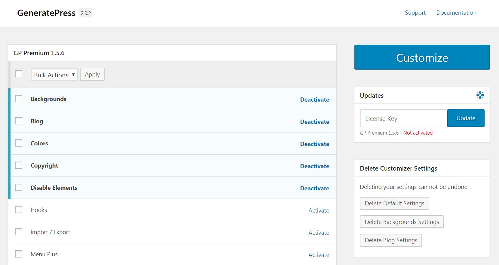 The GeneratePress modules.