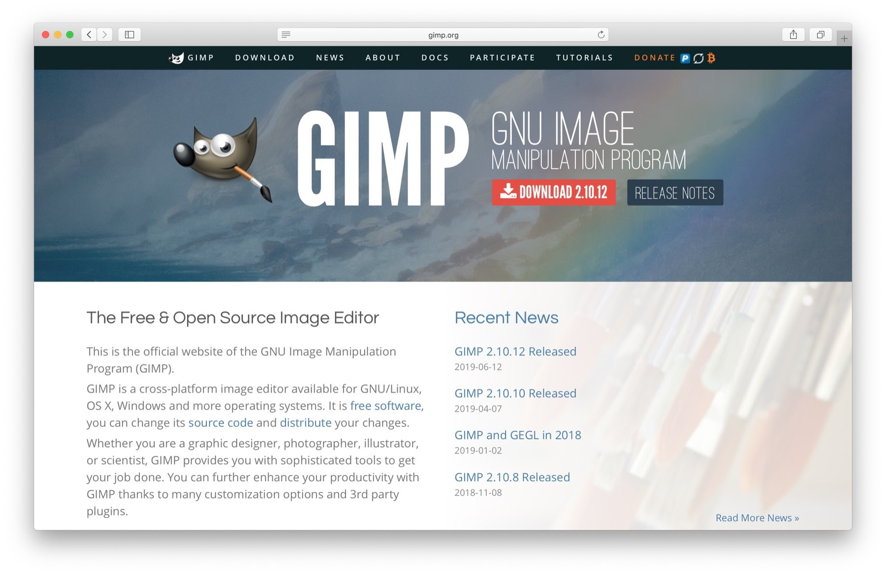 Best website design software #3: Gimp