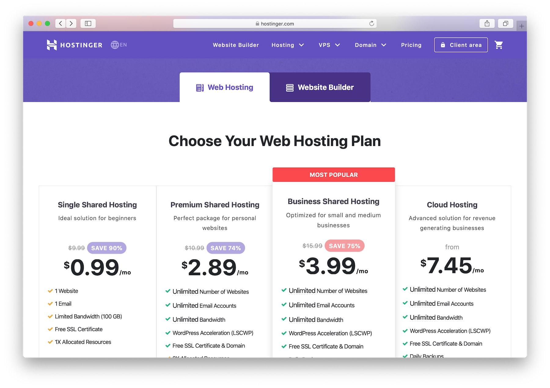 Best web hosting for photographers: hostinger